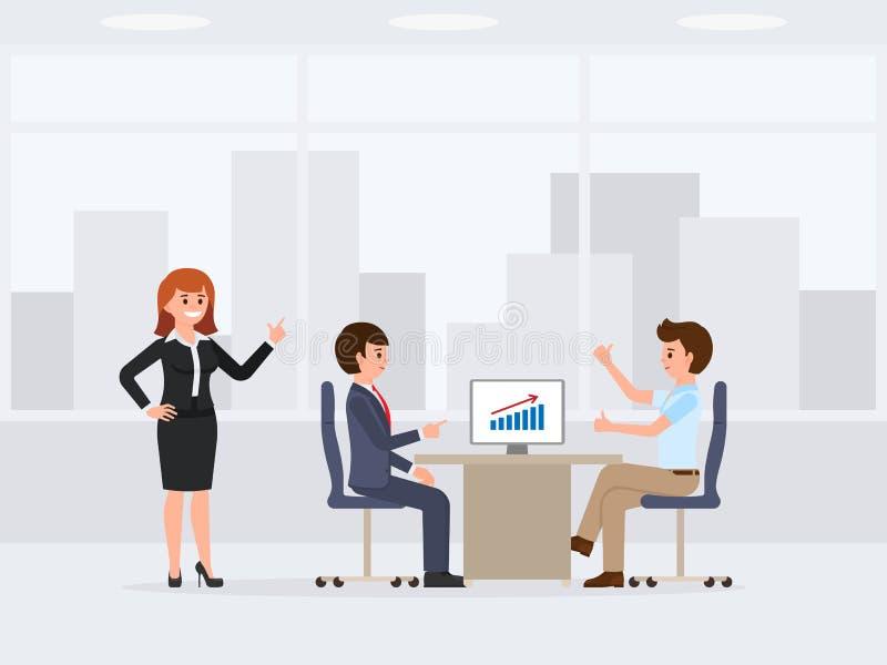 Três trabalhadores de escritório felizes que encontram o personagem de banda desenhada Ilustração do vetor de financeiro ilustração stock