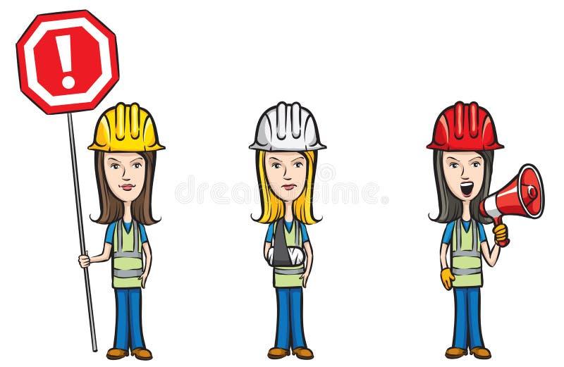 Três trabalhadores de mulheres dos desenhos animados com o megafone ferido sinal ilustração royalty free