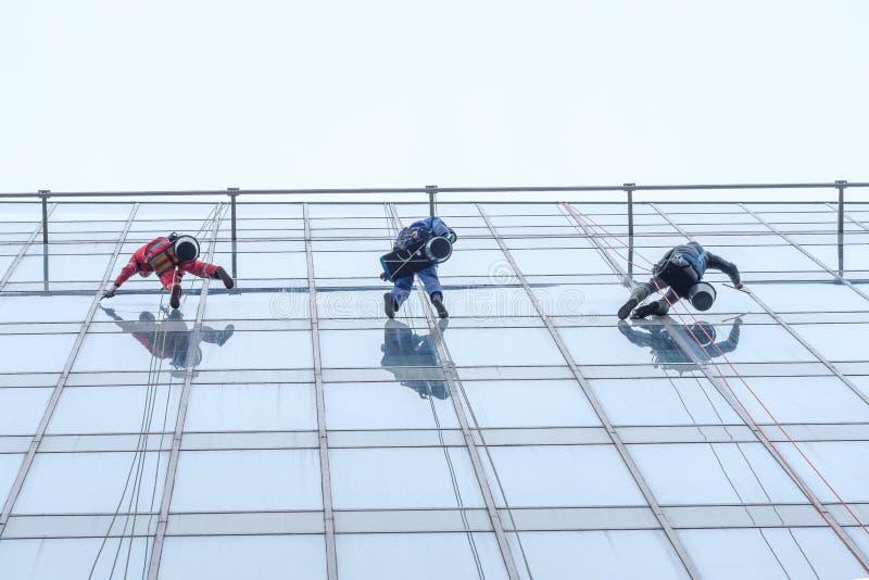 Três trabalhadores que limpam o serviço das janelas na construção alta da elevação imagens de stock royalty free