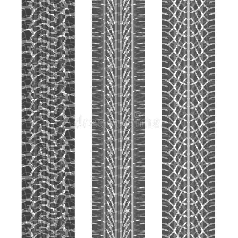 Três trilhas do pneu ajustadas ilustração do vetor