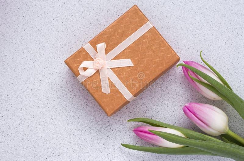 Três tulipas cor-de-rosa delicadas no fundo branco com caixa de presente imagem de stock royalty free