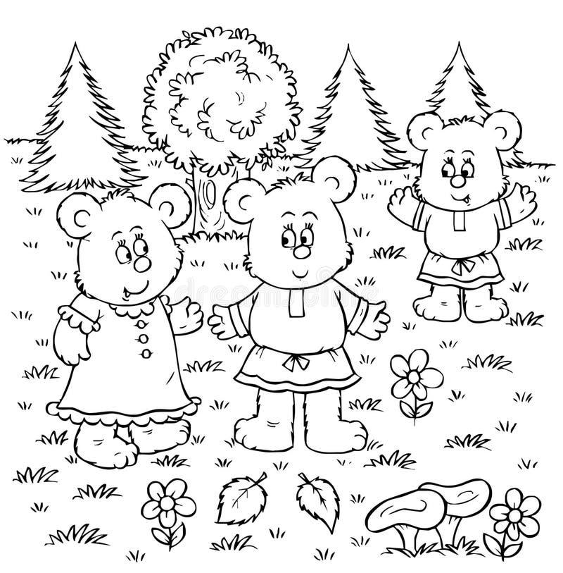 Três ursos ilustração royalty free