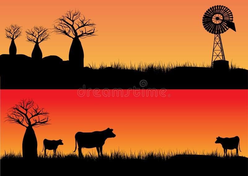 Três vacas no por do sol ilustração royalty free