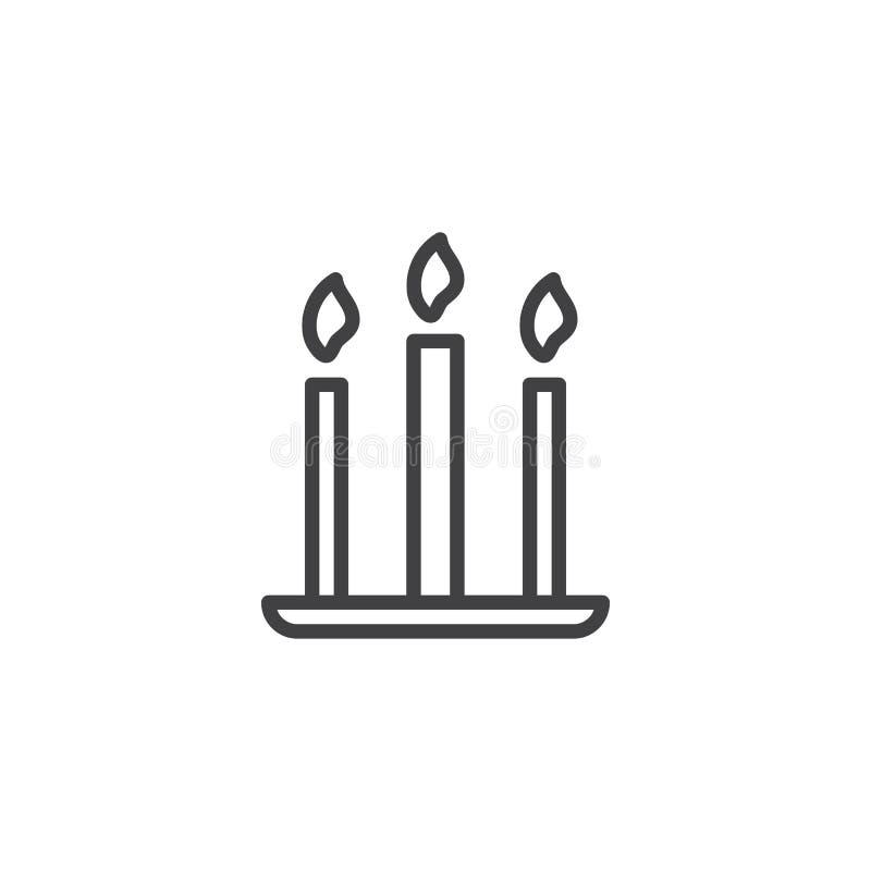 Três velas alinham o ícone ilustração royalty free