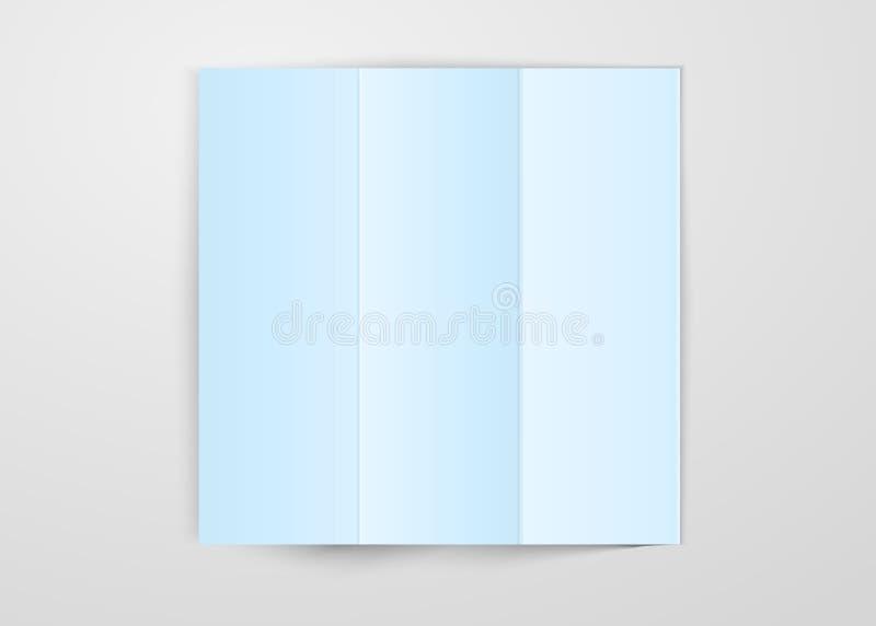 Três vezes dobraram claro - folha de papel azul colocada no fundo branco Vetor quadrado do projeto do molde do cartão isolado com ilustração do vetor