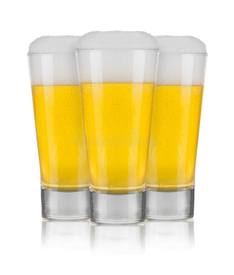 Três vidros da cerveja imagem de stock
