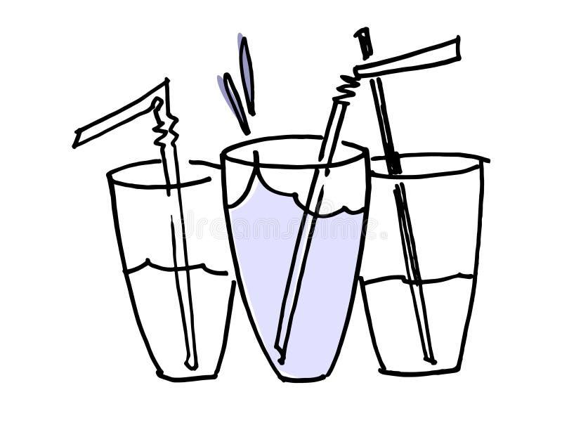 Tr?s vidros tirados da m?o da ?gua com palhas bebendo Um conceito do crescimento e do sucesso Isolado no fundo branco ilustração royalty free
