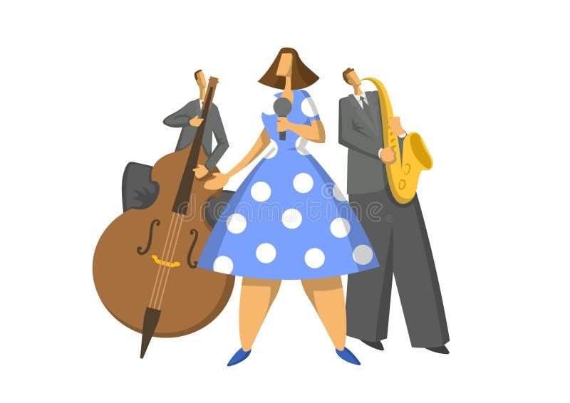 Trío de la música de jazz Contrabassist, saxofonista y cantante ejemplo abstracto del vector libre illustration