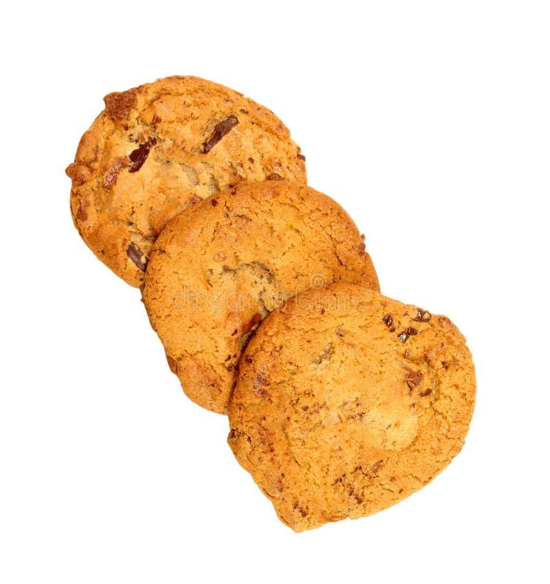 Trío de las galletas de viruta de chocolate fotos de archivo