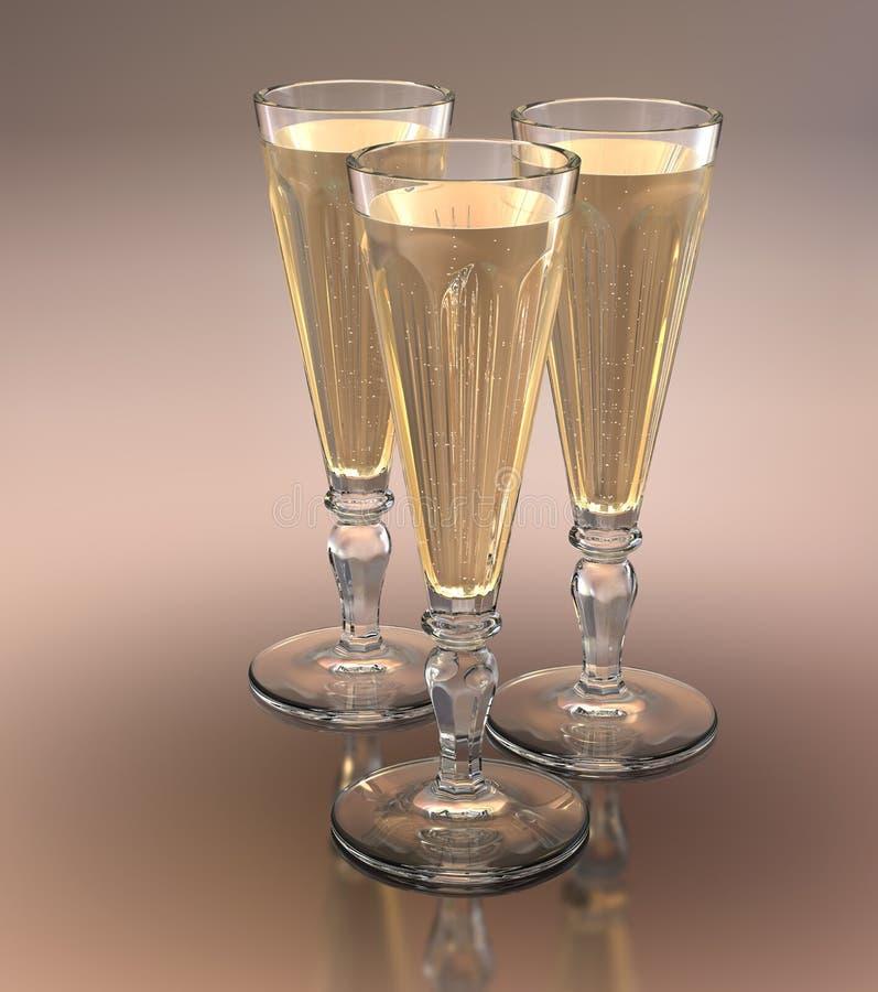 Trío de los vidrios del champán foto de archivo