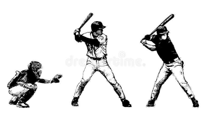 Trío del béisbol stock de ilustración