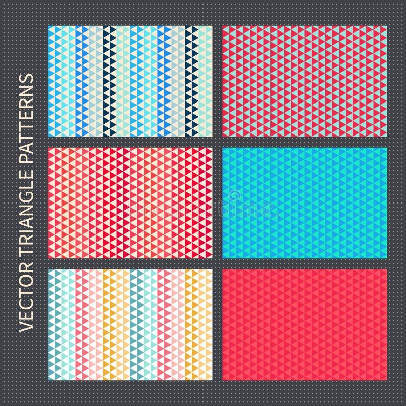 Trójboków wzory ustawiający Rewolucjonistka, menchia, błękit, żółci wektorowi bezszwowi tła ilustracja wektor