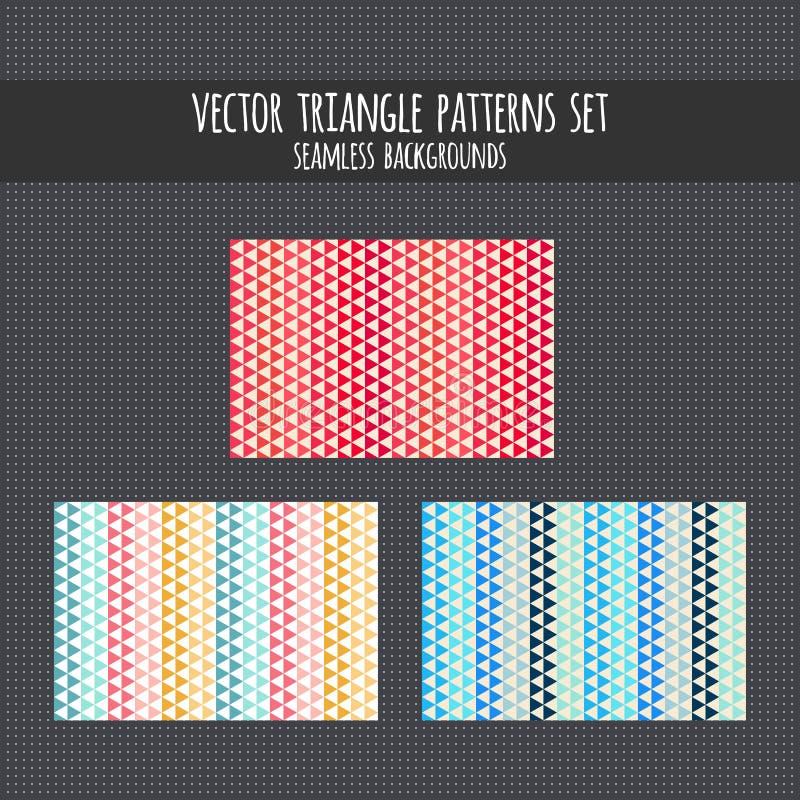 Trójboków wzory ustawiający Rewolucjonistka, menchia, błękit, żółci wektorowi bezszwowi tła Trójgraniasta ilustracja ilustracja wektor