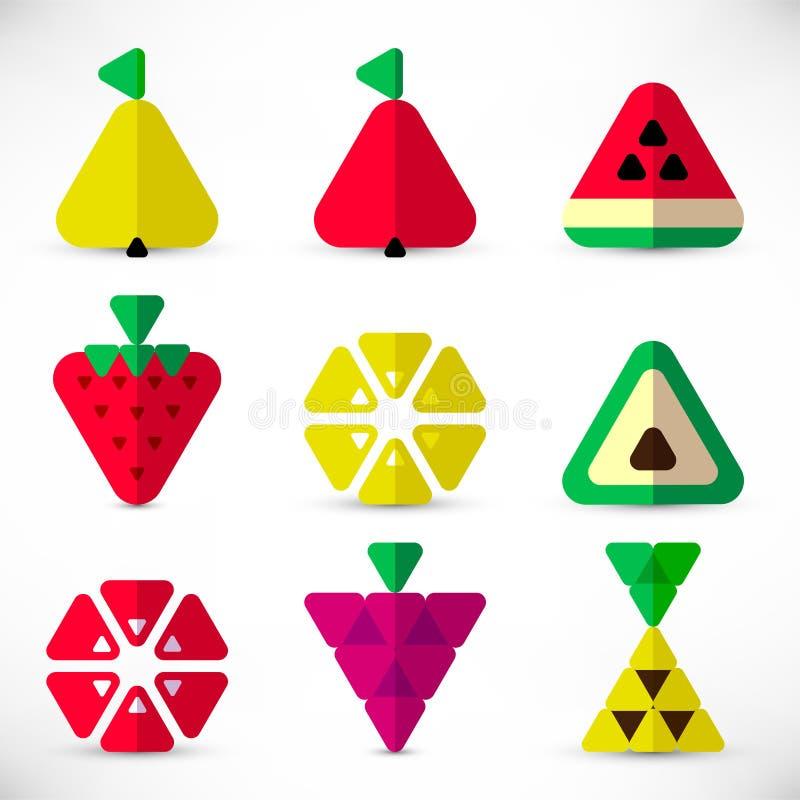 Trójbok owoc ikona ustawiający papier ilustracji