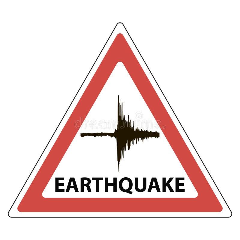 Trójbok sejsmologii szyldowy znaczenie drżenia trzęsienie ziemi ilustracji