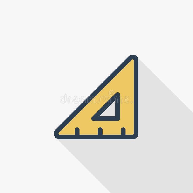 Trójbok władcy koloru cienka kreskowa płaska ikona Liniowy wektorowy symbol Kolorowy długi cienia projekt ilustracji