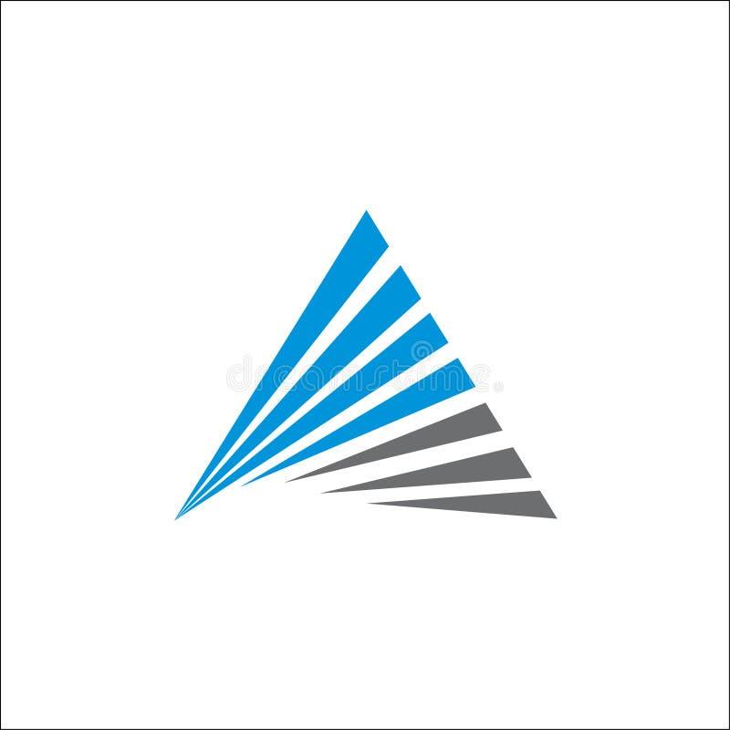 Trójboka logo abstrakta A inicjałów linii wektorowy szablon ilustracja wektor