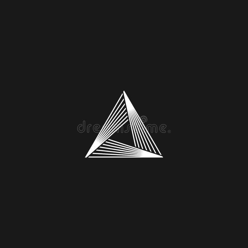 Trójboka logo liniowej nieskończoności ostrosłupa geometryczny kształt, czarny i biały pokrywa się cienkiego linia modnisia monog royalty ilustracja
