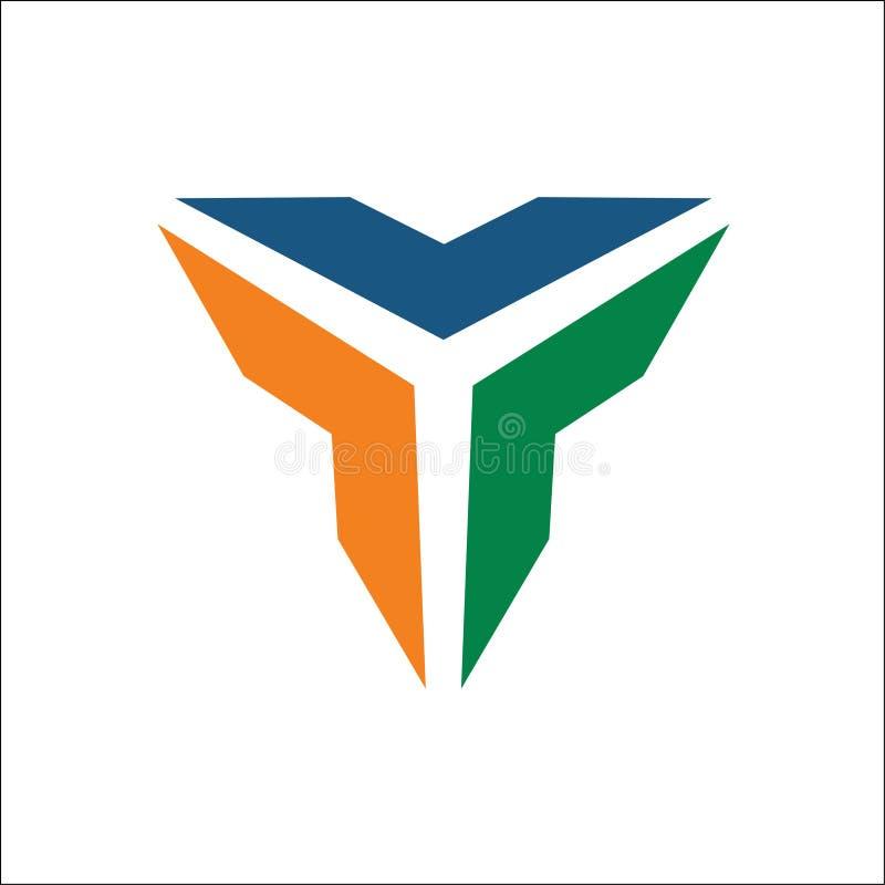 Trójboka logo wektoru abstrakt ilustracji