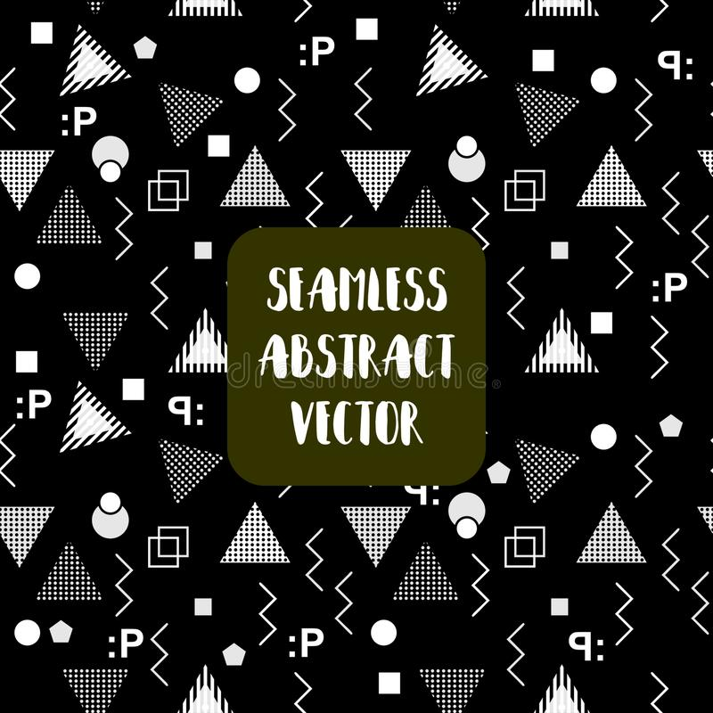 Trójboka Memphis geometryczny bezszwowy deseniowy wektorowy ilustracyjny abstrakt kształtuje royalty ilustracja