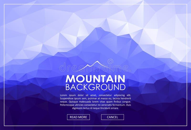 Trójboka niski poli- krajobraz z błękitnymi górami ilustracja wektor