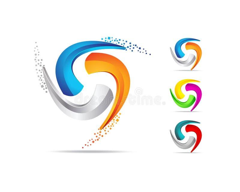 Trójboka Stylowy logo i ikona projekt ilustracji
