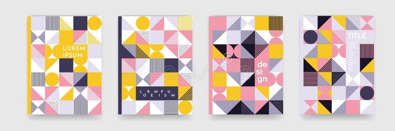 Trójboka tła geometryczna deseniowa tekstura dla plakat pokrywy projekta Minimalnego koloru sztandaru wektorowy szablon z okręgam ilustracja wektor
