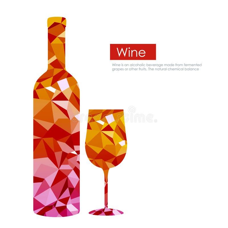 Trójboka wina szkło i butelka ilustracja wektor