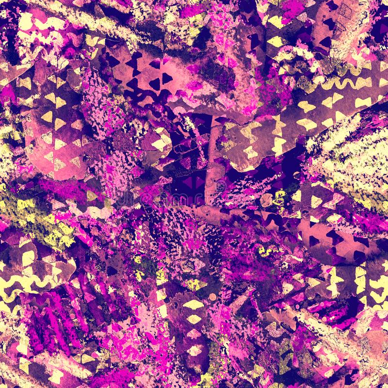 Trójboka wzór Purpurowy i żółty geometrii tło ilustracji