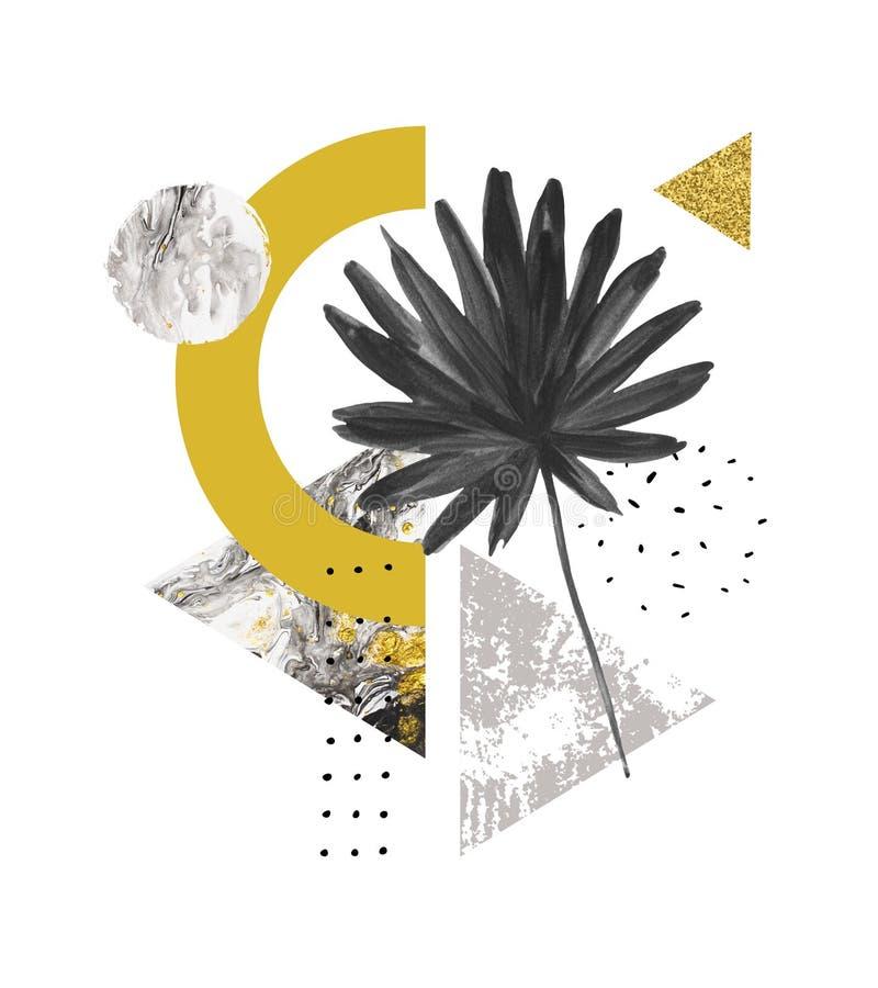 Trójboki wypełniający z marmurem, grunge tekstury, doodles, akwareli fan palmowy liść ilustracja wektor