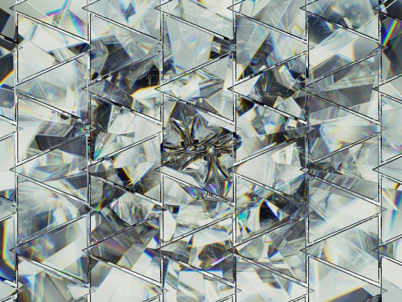 Trójboki z diamentowej struktury krańcowym zbliżeniem i kaleidoscop obraz royalty free