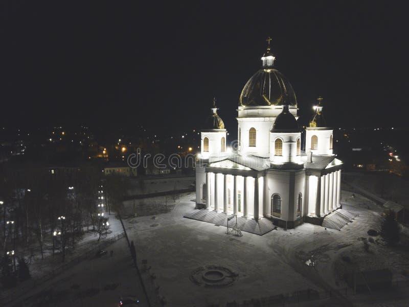 Trójcy katedra Morshansk Rosja cumujący noc portu statku widok fotografia royalty free