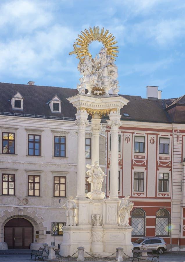 Trójcy kolumna Josef Matthias Gotz w Krems, Austria zdjęcie royalty free