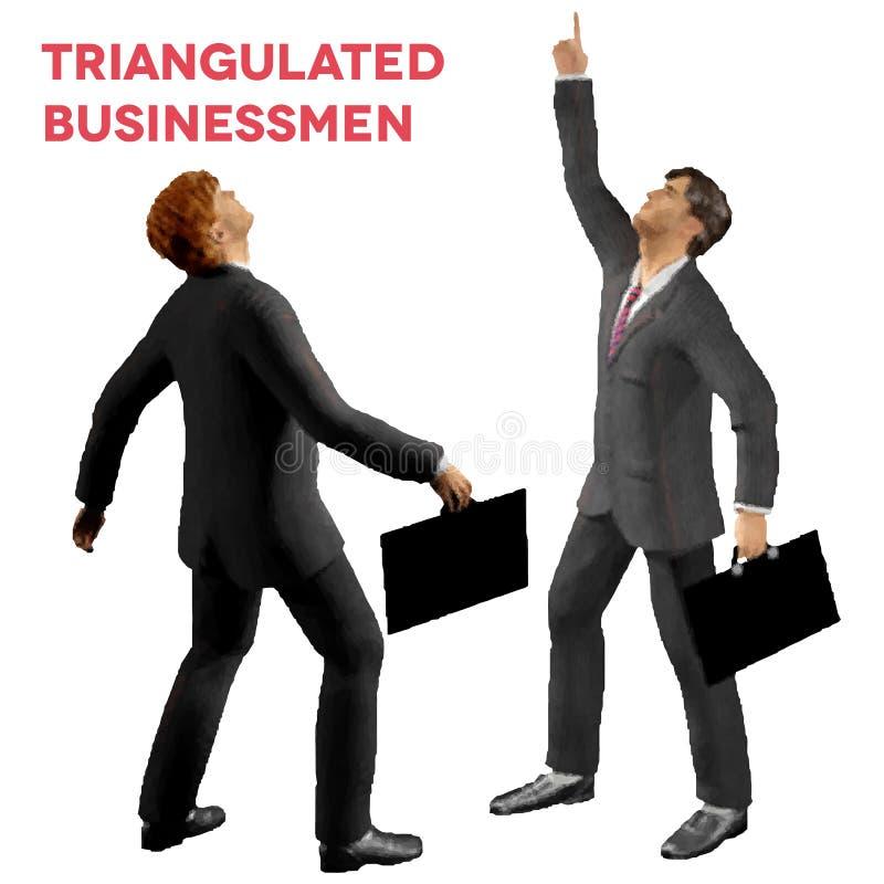 Trójgraniaści stylowi biznesmeni z skrzynki przyglądający up royalty ilustracja