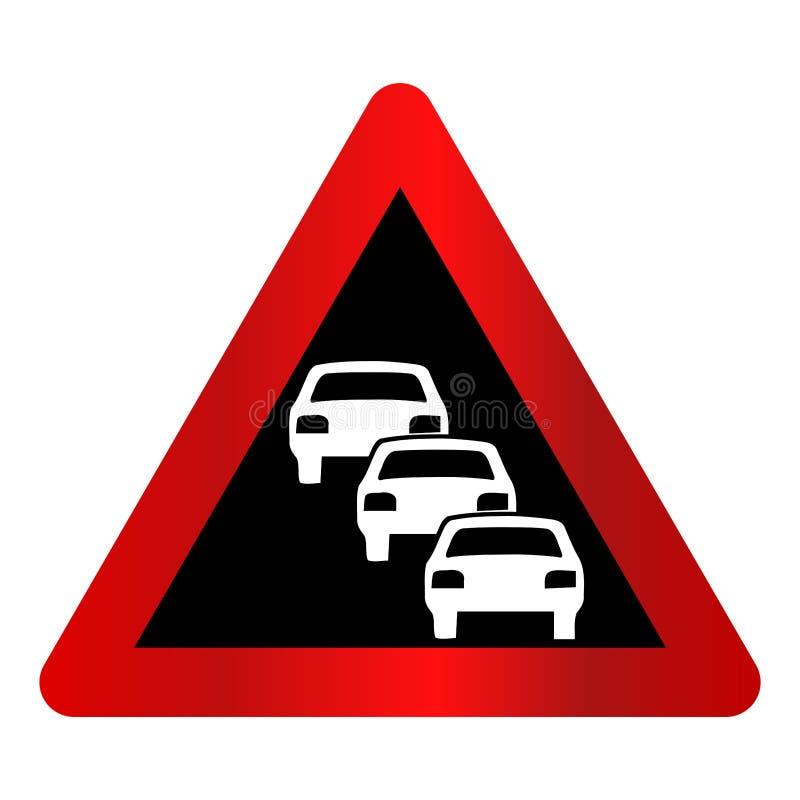 Trójgraniasta czerwień, czarny i biały ` ruchu drogowego dżemu naprzód ` znak ilustracja wektor