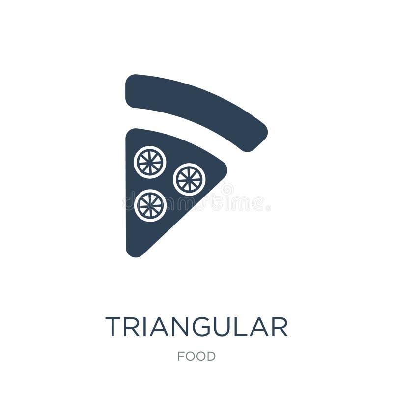 trójgraniasta pizza plasterka ikona w modnym projekta stylu trójgraniasta pizza plasterka ikona odizolowywająca na białym tle tró ilustracja wektor