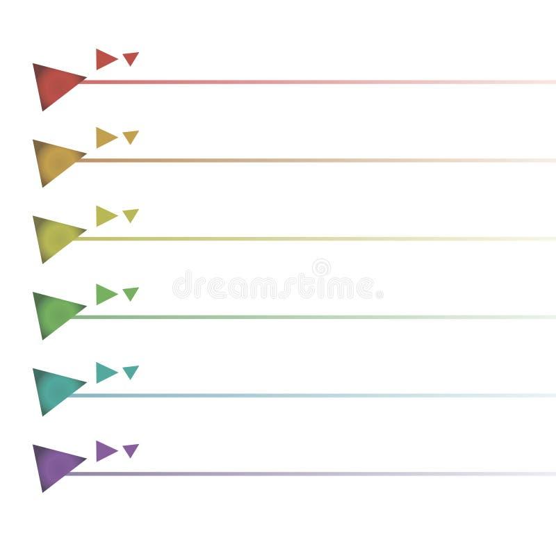 Trójgraniasta wypukła guzika kształta paska lista farby podkreślenia kolumna odizolowywająca na białego tła tęczy wektorowym wzor ilustracji
