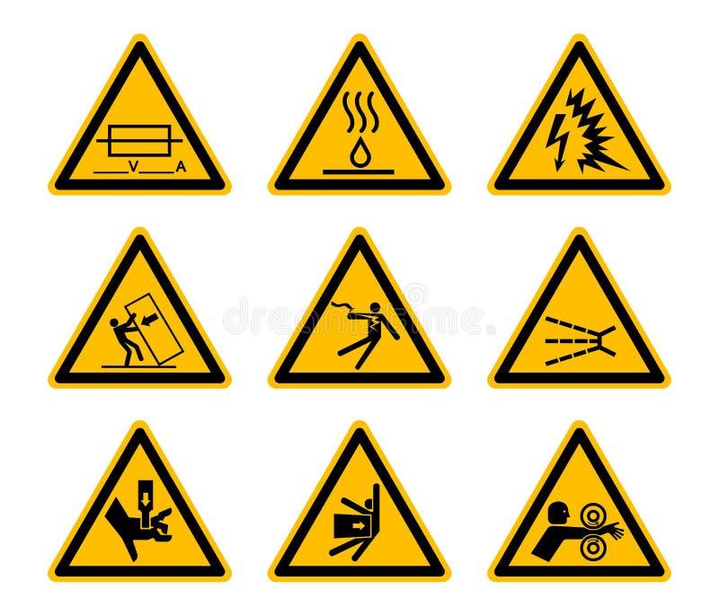 Trójgraniaste Ostrzegawcze zagrożenie symboli/lów etykietki Odizolowywają Na Białym tle, Wektorowa ilustracja EPS 10 royalty ilustracja
