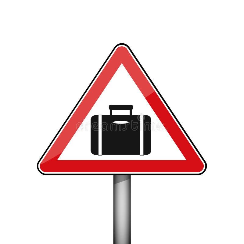 Trójgraniasty czerwony drogowy znak z bagażem royalty ilustracja
