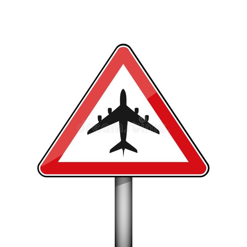 Trójgraniasty czerwony drogowy znak z lotniczym samolotem ilustracja wektor
