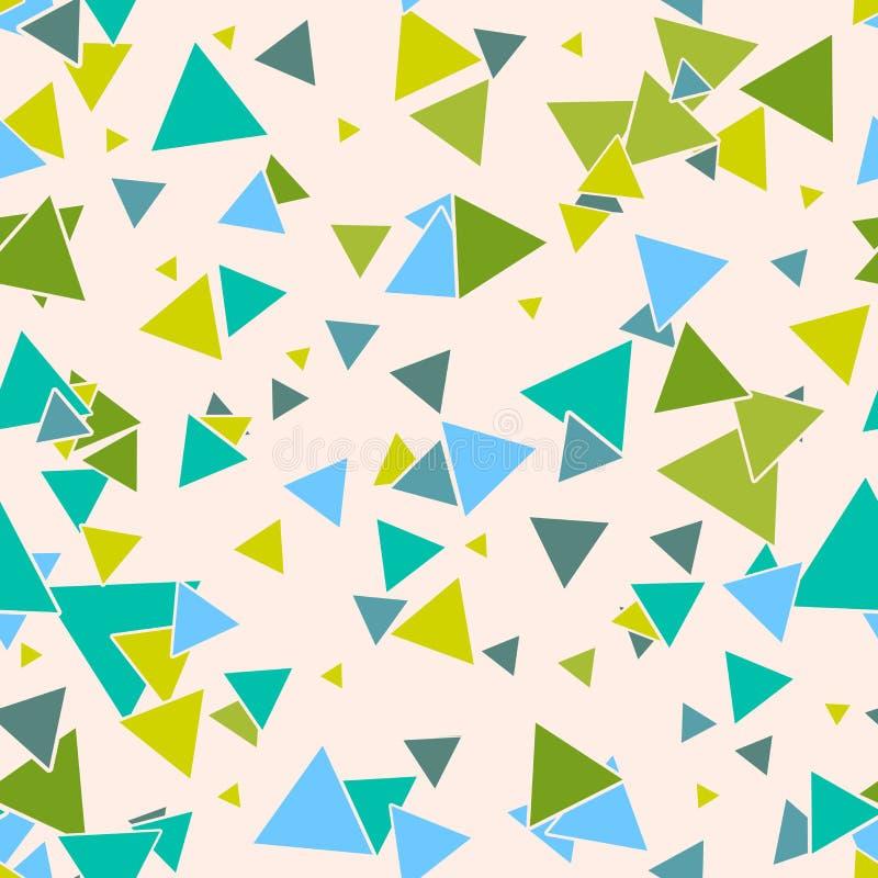 Trójgraniasty geometryczny bezszwowy wzór z kolorową zielenią, błękitni przypadkowi trójboki na pastelowym beżowym tle royalty ilustracja
