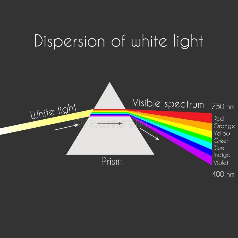Trójgraniasty graniastosłup łama światło białe promień w tęcza spektralnych kolory royalty ilustracja