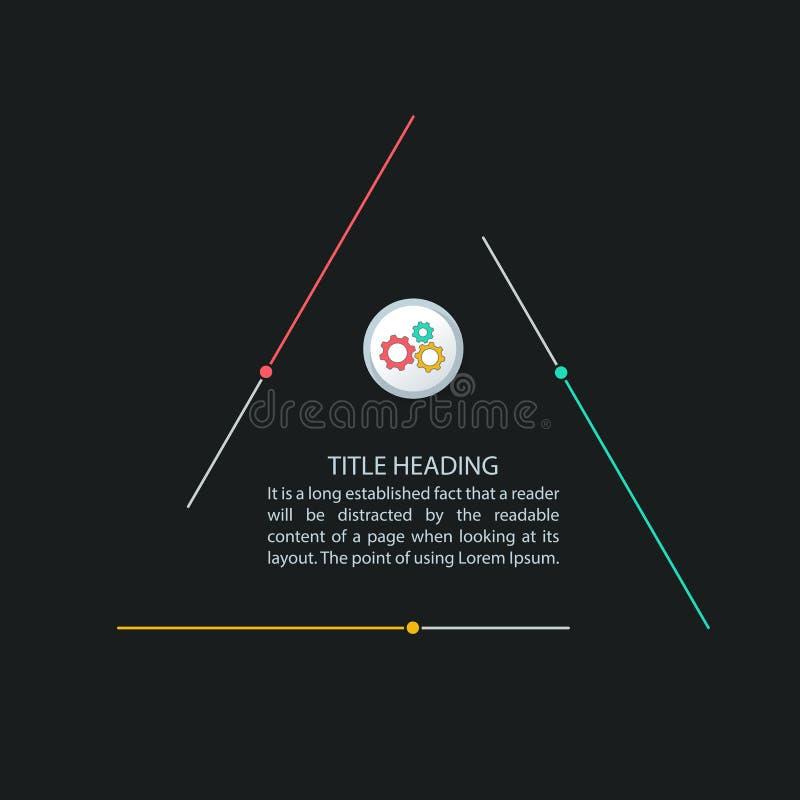 Trójgraniasty infographics, trzy kroków proces, multicolor infographics szablon dla korporacyjnego biznesu prezentacji ilustracji