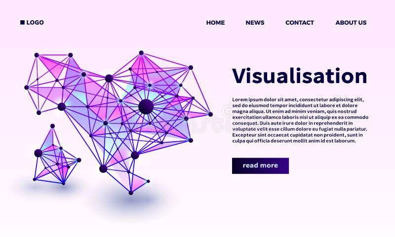 Trójgraniasty punktu visualisation sztandar, isometric styl royalty ilustracja