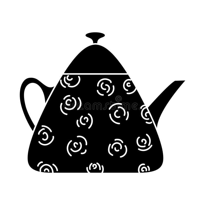 Trójgraniasty teapot z stylizowanymi różami na odosobnionym tle, Doodle styl sylwetka zdjęcie stock