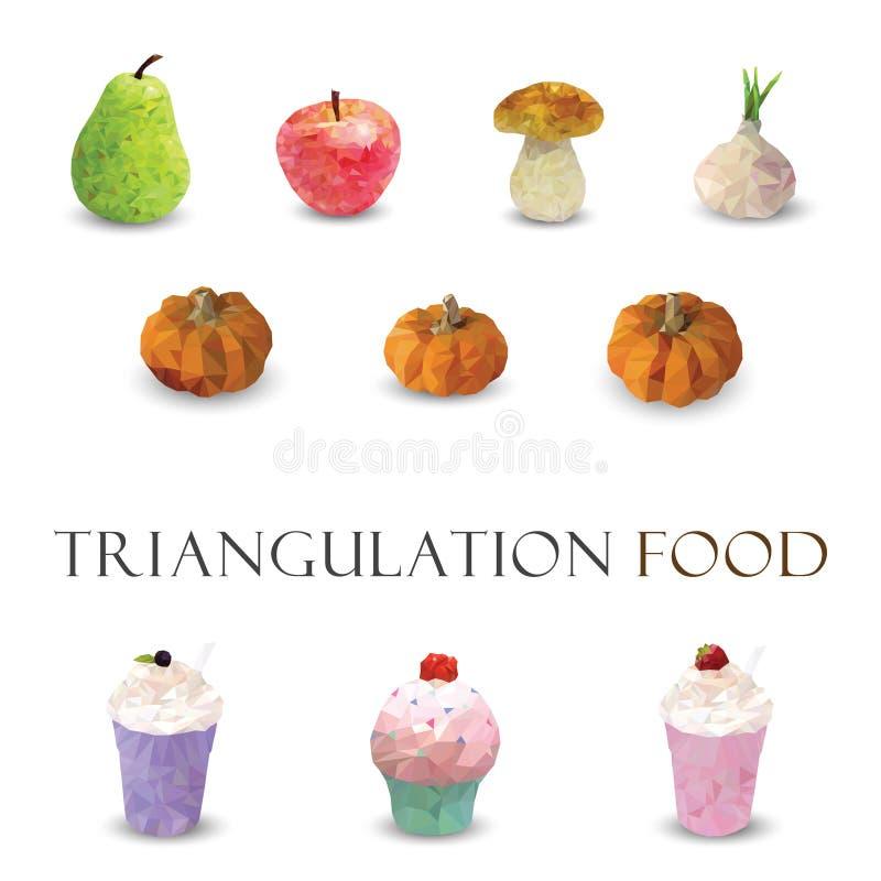 Trójkątowania 3d nowożytnego projekta jedzenie ilustracji