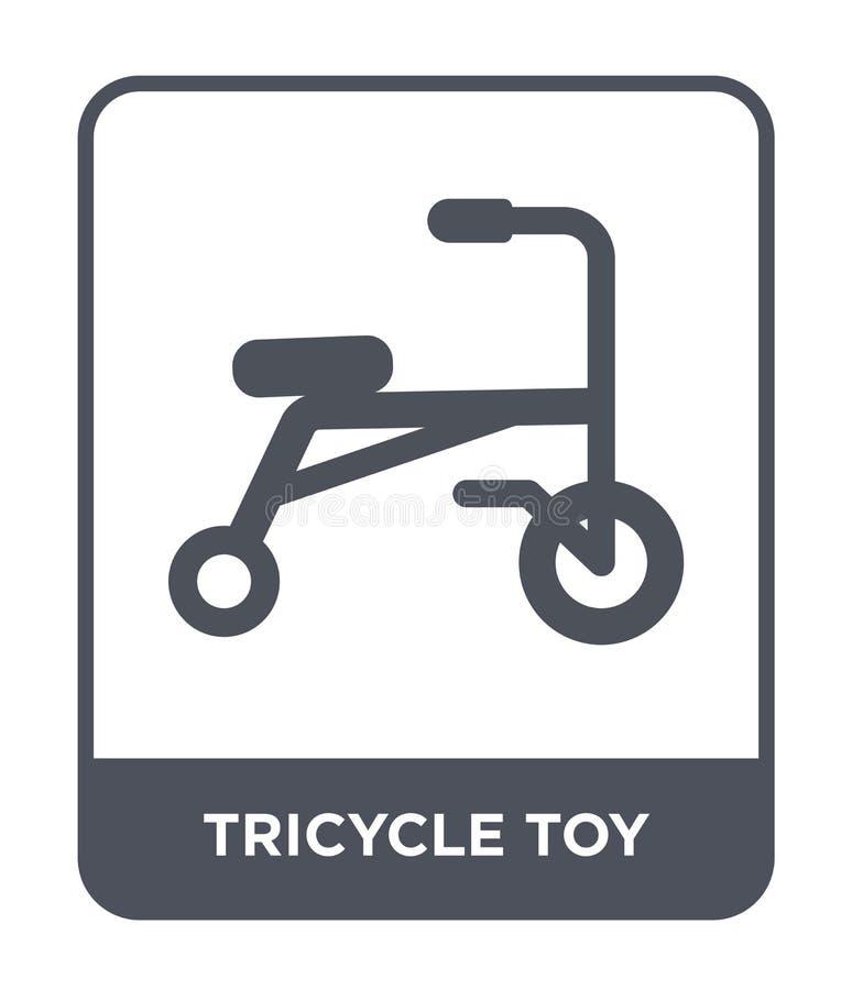 trójkołowiec zabawkarska ikona w modnym projekta stylu trójkołowiec zabawkarska ikona odizolowywająca na białym tle trójkołowiec  royalty ilustracja