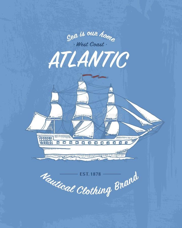 Trójnika druku morski statek lub denny transport, koszulek grafika, projekt z zwierzęciem płyty tła pokrywy grunge wektora Roczni ilustracji