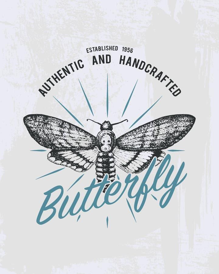 Trójnika druku motyl, jastrzębi ćma lub zwierzę, Koszulek grafika projekt płyty tła pokrywy grunge wektora rocznika literowanie i ilustracji