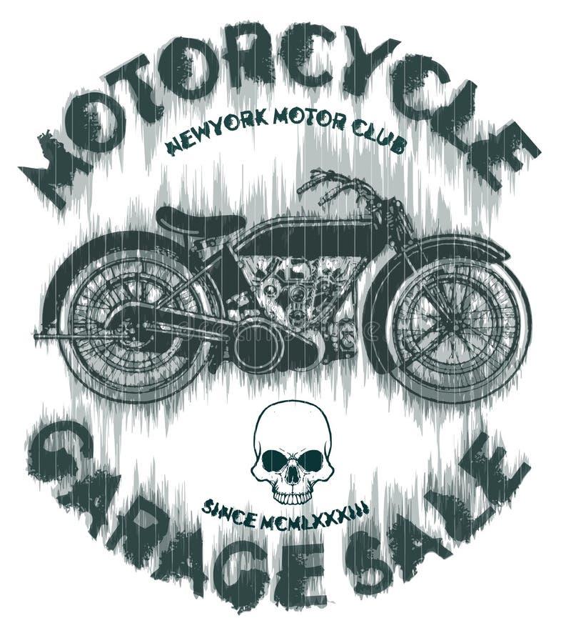 Trójnika rocznika motocyklu rasa | Ręka rysunek | Koszulka druk | B royalty ilustracja